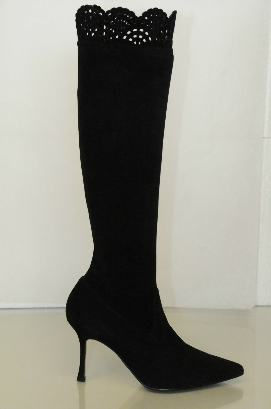 New MANOLO BLAHNIK Pafatolo 90 Black Suede Stretch Boots SHOES 34.5 36.5 40.5 42