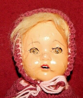 "Antique? Bisque? 19"" VERY UGLY DAMAGED  Doll with Homemade Crochet Dress"