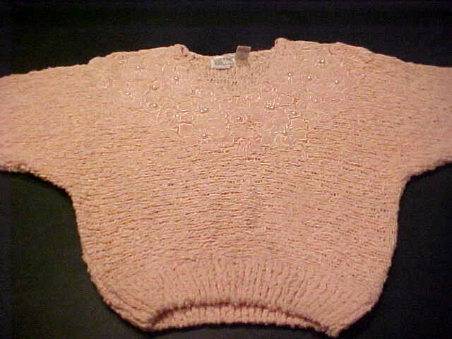RARE VINTAGE LADIES BONNIE&BILL ELEGANT Farbe PEACH &PEARL HAND KNIT SWEATER MED