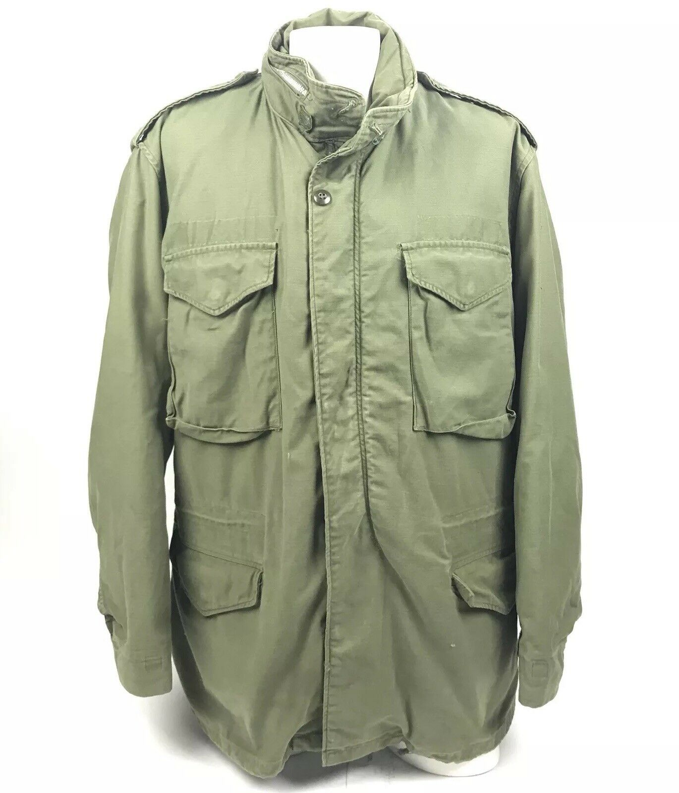 Authentic US Military  Herren Cold Weather Field Coat 70s Lined OG-107 Large Long