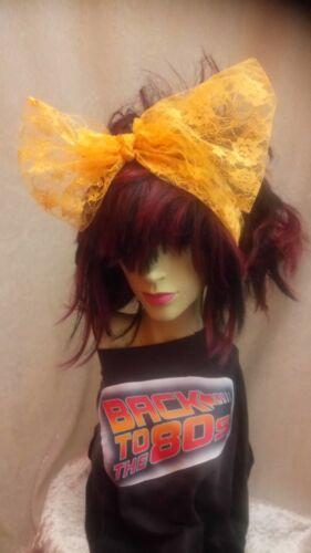 Orange Lace Scarf Headband Bow 1980s Fancy Dress Accessory Dance Fame Madonna