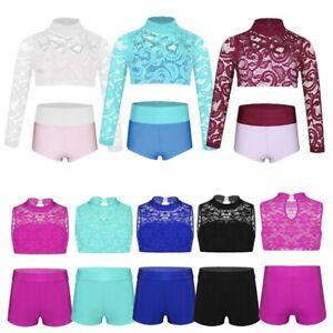 Kids Girls Sports Dance Two-Pieces Outfits Ballet Gymnastics Leotard Dancewear