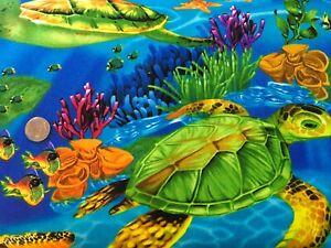 BonEful FABRIC FQ Cotton Quilt Tan Red Crab Lobster Sea Turtle Horse Fish Ocean