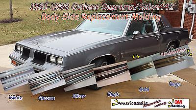 1981 1988 olds oldsmobile cutlass 442 white chrome body side molding trim ebay 1981 1988 olds oldsmobile cutlass 442 white chrome body side molding trim ebay