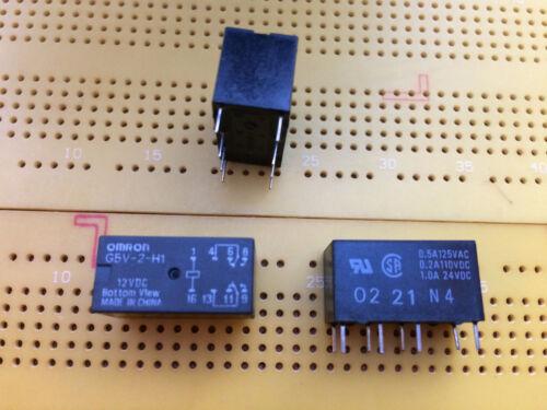 1 A Interruptor DPDT PCB Relé 12 V DC de enganche no Bobina oro revestido de plata G5V-2-H1 Multi Cantidad