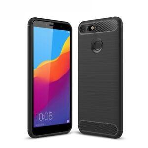 Huawei-Honor-7a-TPU-Case-Carbon-Fiber-Look-Brushed-Case-Cover-Black