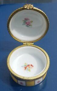 Crown Porcelain Pill/Trinket Box. Floral Design