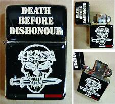 """Accendino antivento commemorativo """"DEATH BEFORE DISHONOUR"""" - (Arditi Incursori)"""