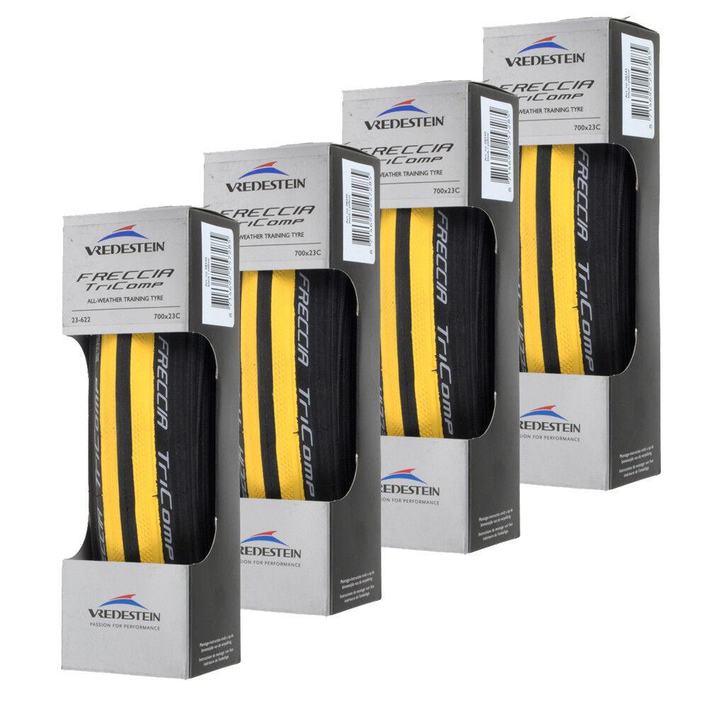4 Pack Vrojoestein Freccia Tricomp todo tipo de clima 700 C x 23 Negro Amarillo
