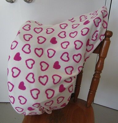 Horse Saddle cover White with Pink hearts FREE EMBROIDERY All Australian Made