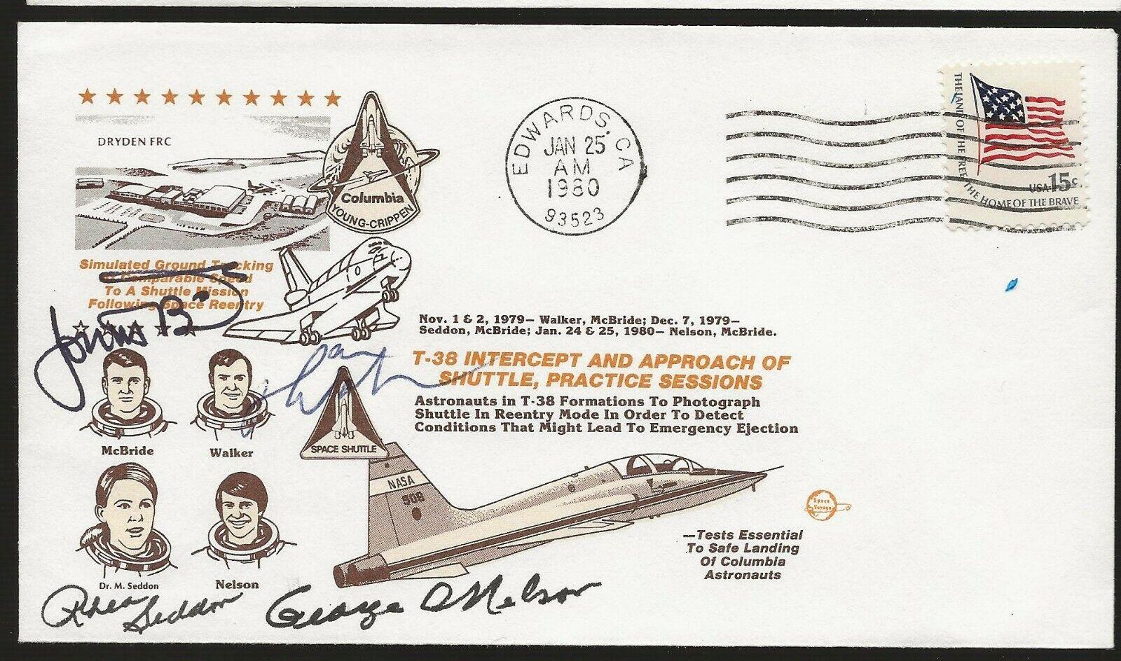 s l1600 - 1980 Flight T38's Shuttle Program, Autographed by 4 Astronauts, Hand Signed 2