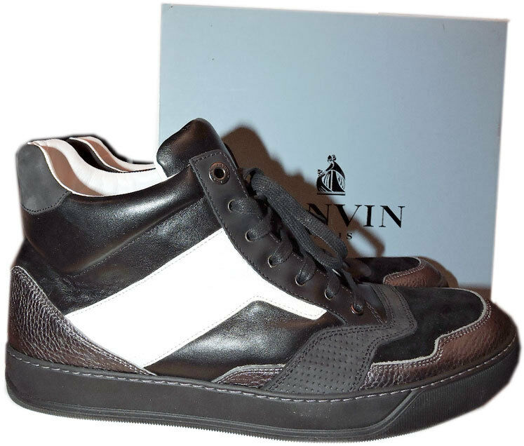 690 Lanvin Men's Mid High Top Sneaker Gunmetal Black Leather shoes 9 Uk- 10 Us