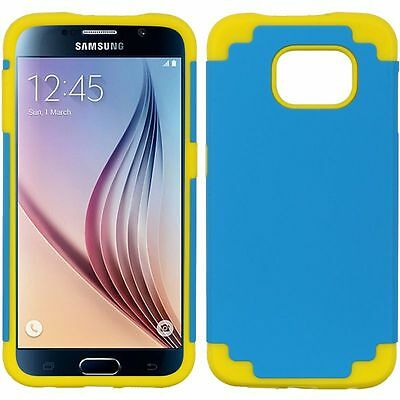 For Samsung Galaxy S6 SM-G920 Dual Layer Hybrid PC/TPU Rubber Case Blue/Yellow