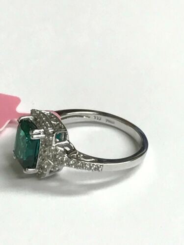 Jwbr Argent Sterling 925 Cocktail Ring-Radiant GREEN TURMALINE /& Zircon Cubique-Taille 8
