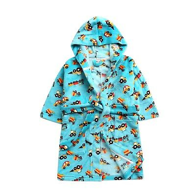"Vaenait Babys Kids Soft Plush Hooded Bathrobes Dressing Gowns ""mint Car"" 1-7t Easy To Use"