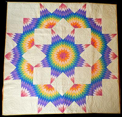 Antique 1930 Mennonite Broken Star Quilt