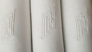 Antique-French-Linen-Tablecloth-12-XXL-napkins-hand-monogrammed-FR-RF-ART-DECO