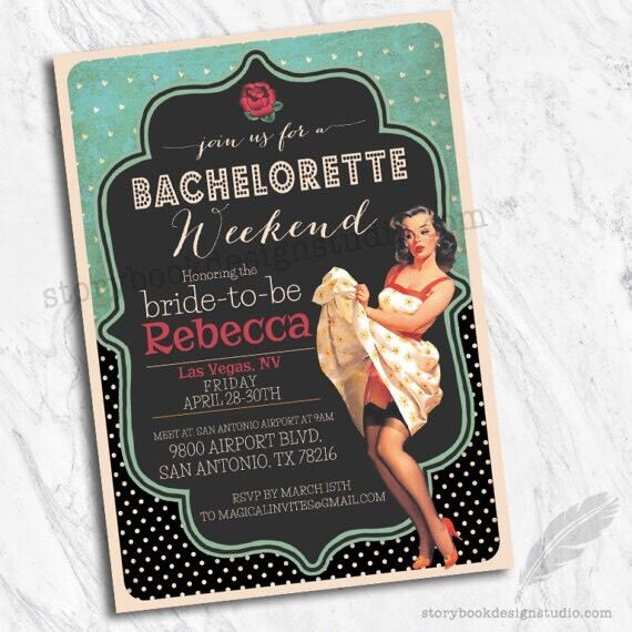 Rockabilly Pinup Bachelorette Party Invitations Set Of 10 Printed