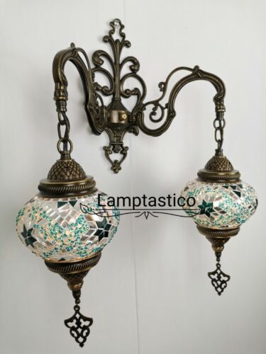 Art DecoDownlight Uplight Turkish Moroccan Mosaic Double Wall Light Lamp Sconce