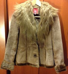Esprit-Tan-Brown-Leather-Suede-Fur-Trim-Winter-Coat-Jacket-Women-039-s-Large