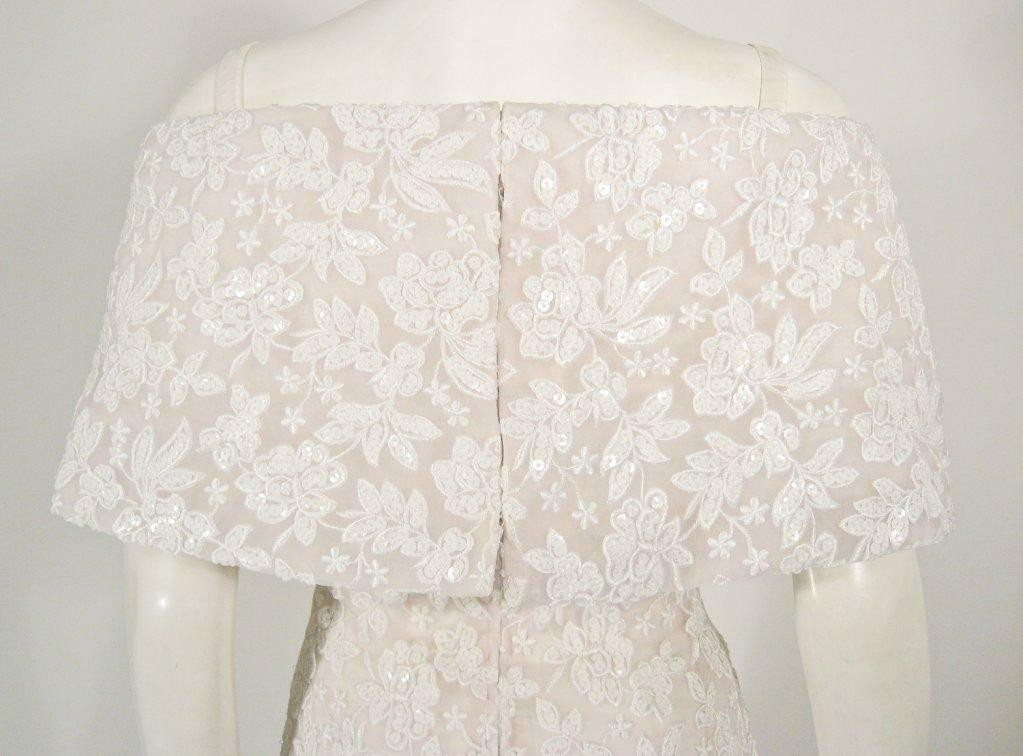 ARNOLD SCAASI White Floral Wedding Gown with Sequ… - image 5