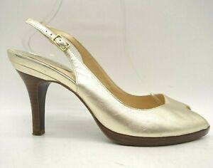 Cole-Haan-Air-Gold-Leather-Slingback-Buckle-Peep-Toe-Heels-Shoe-039-s-Women-039-s-10-B