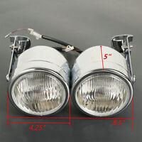 Chrome Twin Dual Front Headlight W/ Bracket For Sport Dirt Bike Street Fighter