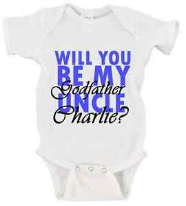 7ef413866 CUSTOM Will You Be My Godfather Uncle NAME Onesie Baby Godparents ...