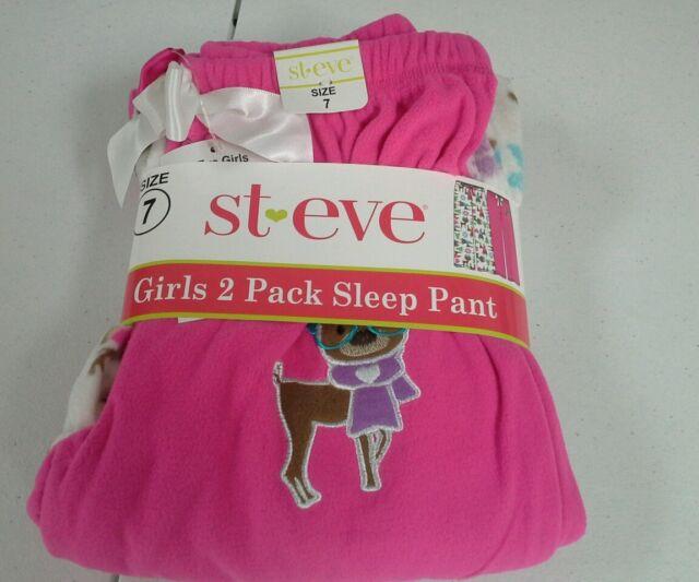 St. Eve girls 2 pack pajama sleep pant size 7 sleepwear reindeer pink NWT fleece