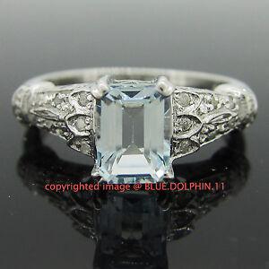 Genuine-Natural-Diamonds-Aquamarine-Solid-9ct-White-Gold-Engagement-Wedding-Ring