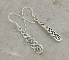 UNIQUE .925 STERLING SILVER CELTIC KNOT DANGLING EARRINGS  style# e0836