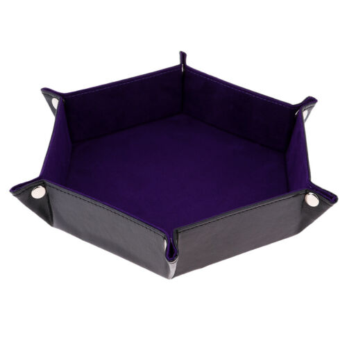Double Side Dice Tray PU Leather Hexagon Tray Holder for Dungeons/&Dragons A