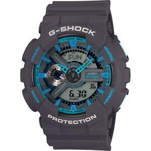 Casio-G-Shock-GA-110TS-8A2-Grey-Blue-Digital-Analog-Men-039-s-Sports-Watch
