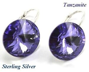 d860b7ac0 Image is loading STERLING-SILVER-RIVOLI-Tanzanite-Earrings-made-with- Swarovski-
