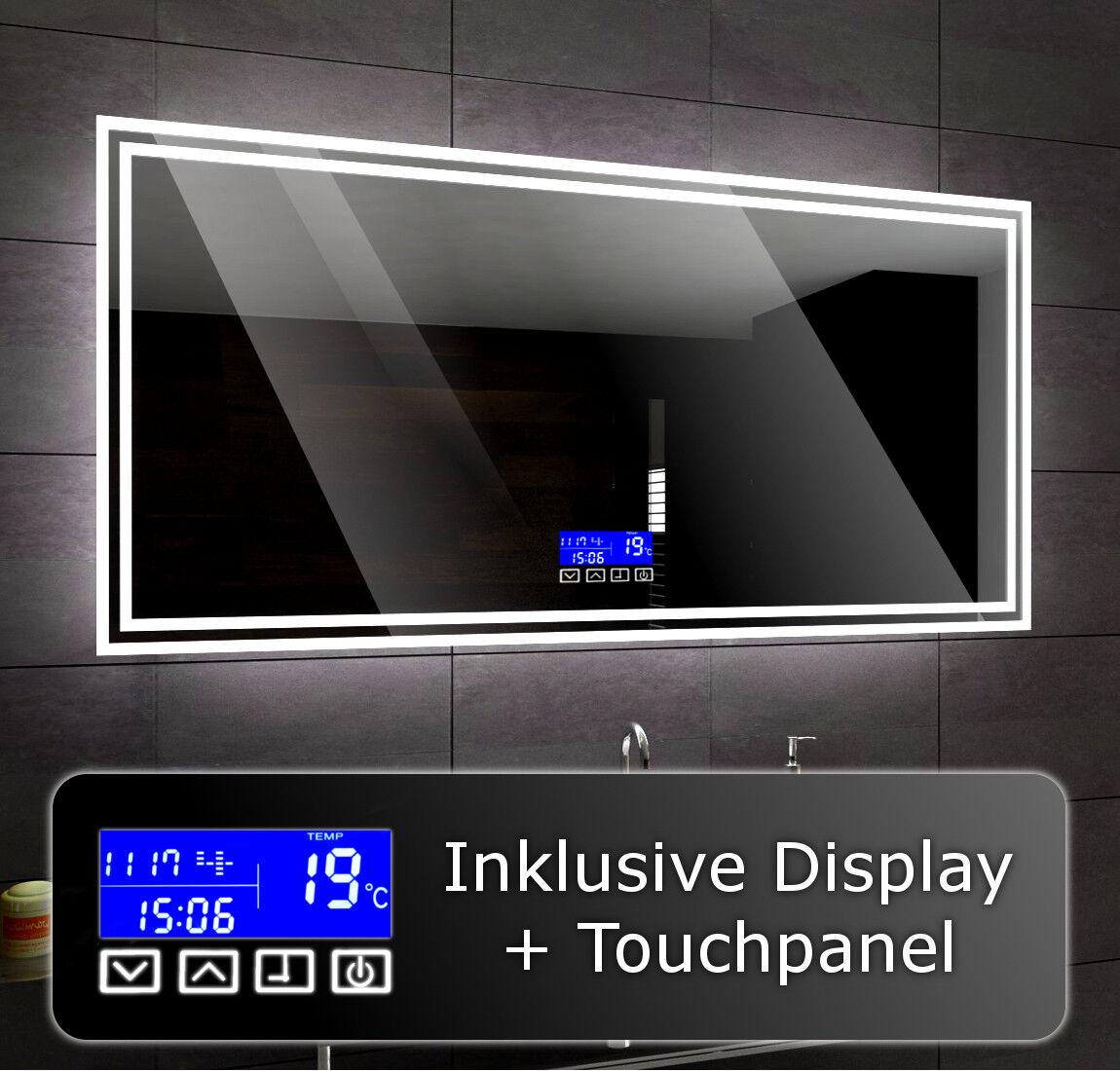 Lumineux DEL Miroir de salle de bain pour mesurer Wieden + LCD Touch Control Panel