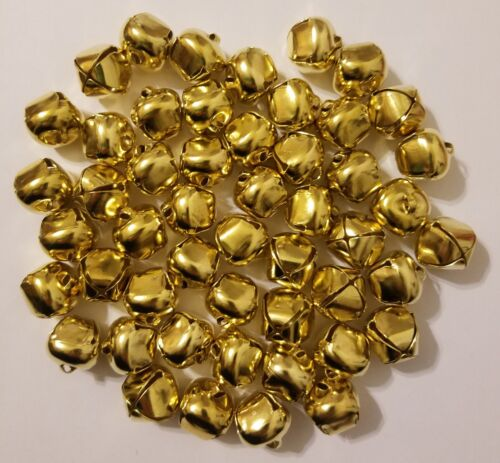 """Lot of 50 Shiny Gold Metal Jingle Bells for Christmas Crafts 20mm 3//4/"""" Diameter"""