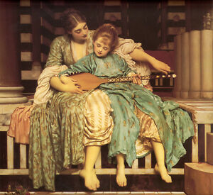 Oil-painting-portraits-Music-Lesson-young-mother-and-young-daughter-canvas