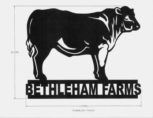 Black Charolais Beef Bull Beast Metal Steel Art Craft Unique Mail box Topper