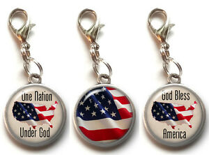 Zipper Pull,Shoes #Y148 Silver Plated Dangle Charm Marker,Pet Tags Star American USA FLAG Enamel Clip-on Lobster Clasp Link Bracelets