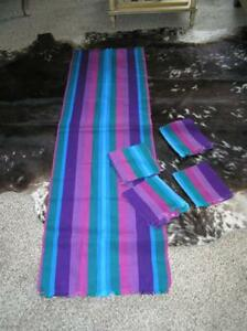 Vintage Colorful Tight Weave Purple Blues Runner W 4