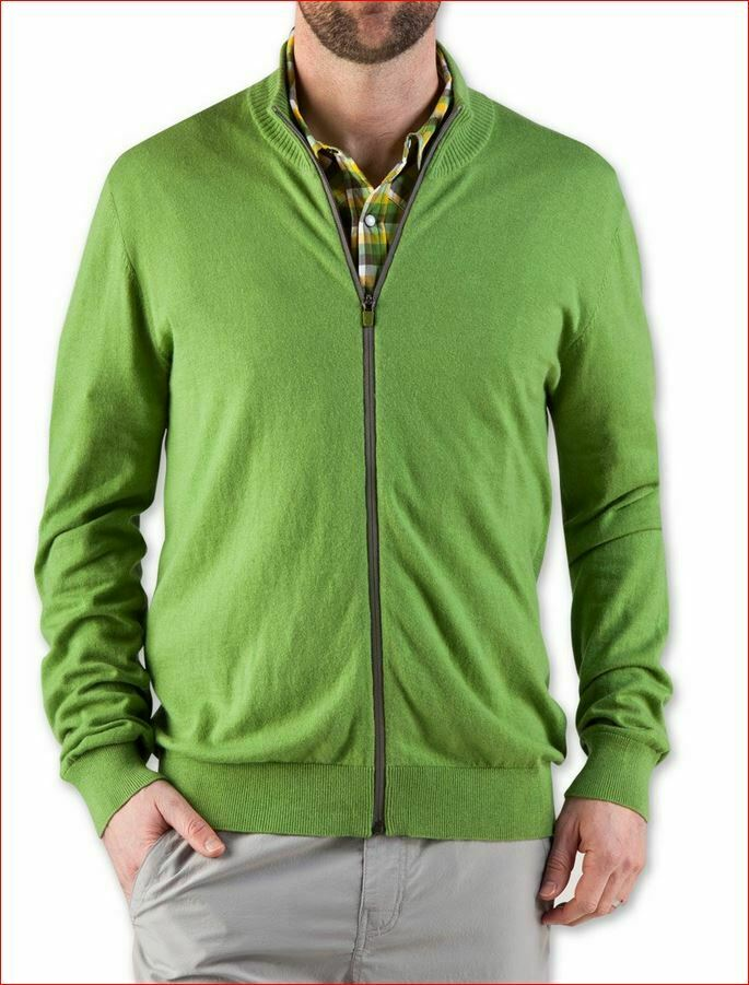 New STIO men 2125 M's sweater synthis zip 10% wool piquant green L MSRP
