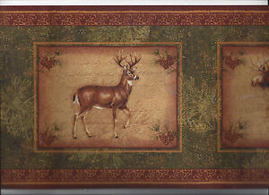 Image Is Loading COUNTRY WALLPAPER BORDER DEER BEAR MOOSE ANIMAL HUNTING