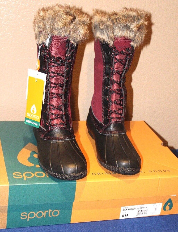 Sporto® Natasha; Waterproof Suede and Leather Duck Duck Duck Boot, MERLOT   BLACK 9 1 2 M 9f7237