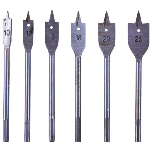 6 x Metric Size Flat Wood Spade Drill Bit High Quality Hole Cutter Set Holesaw