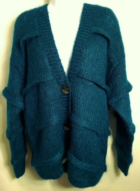 Vtg 90s Blue Striped Oversized Fit Mohair Wool Cardigan Sweater Jacket Size M