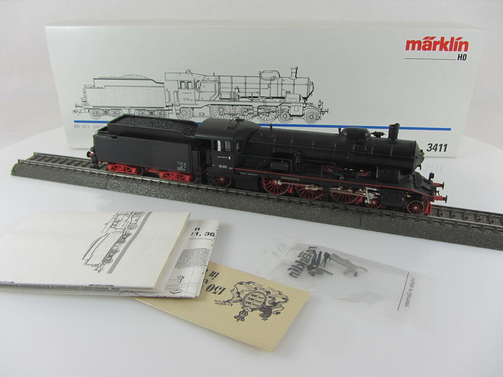 Märklin 3411 locomotiva BR 18 128 DELLE DB IN NERO CON CONFEZIONE ORIGINALE