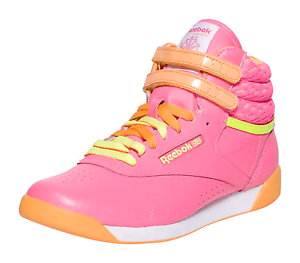 e4526f5b461 Image is loading Reebok-Freestyle-Hi-Pink-Orange-Yellow-Grade-School-