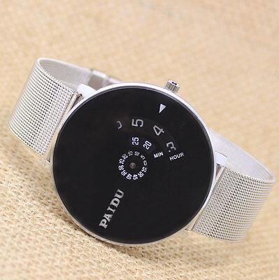 New Classic Turntable Dial Steel/Mesh Quartz Wrist Watch Women Men Gifts PAIDU