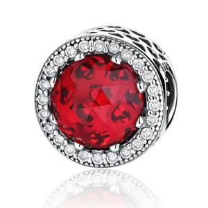 Authentic-925-Silver-Radiant-Hearts-Charm-Bead-with-Hot-Red-Crystal-amp-Clear-CZ