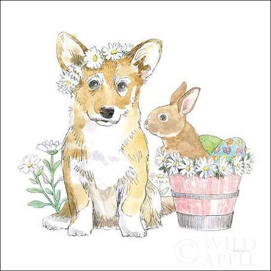 Beth Grove  Easter Pups I Keilrahmen-Bild Leinwand Hund Welpe Hase Blaumen bunt